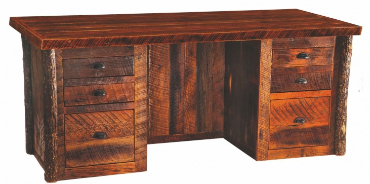 Barnwood Artisan Top Executive Desk With Hickory Legs