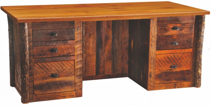 Barnwood Traditional Top Executive Desk With Hickory Legs