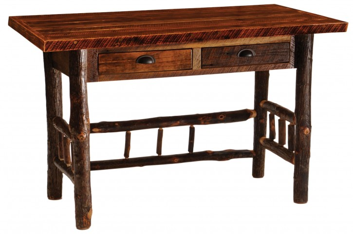 Barnwood 2 Drawers Artisan Top Writing Desk With Hickory Legs
