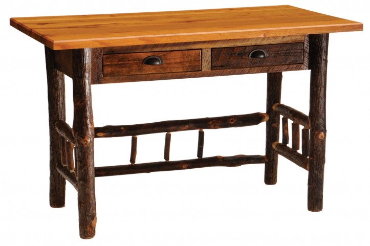 Barnwood 2 Drawers Traditional Top Writing Desk With Hickory Legs