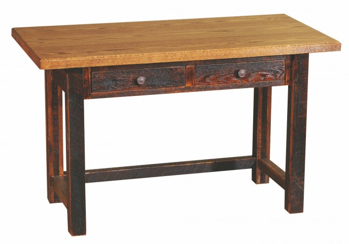 Barnwood 2 Drawers Traditional Top Writing Desk With Barnwood Legs