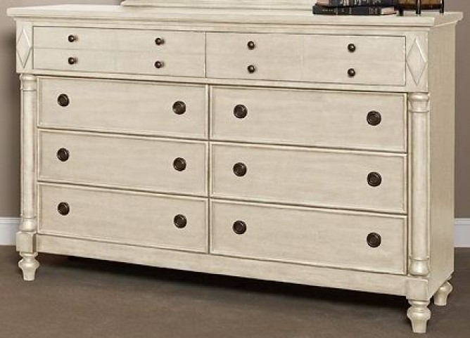 Woodhaven Antique White 8 Drawer Dresser