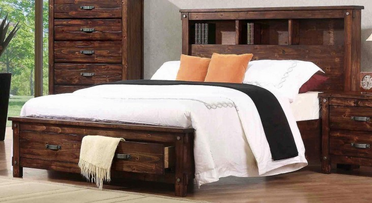 Noble Rustic Oak King Captain Panel Storage Bed