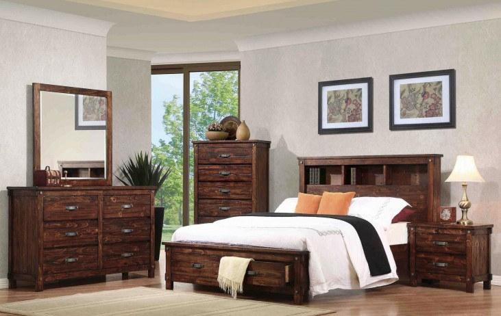 Noble Rustic Oak Queen Captain Panel Storage Bedroom Set