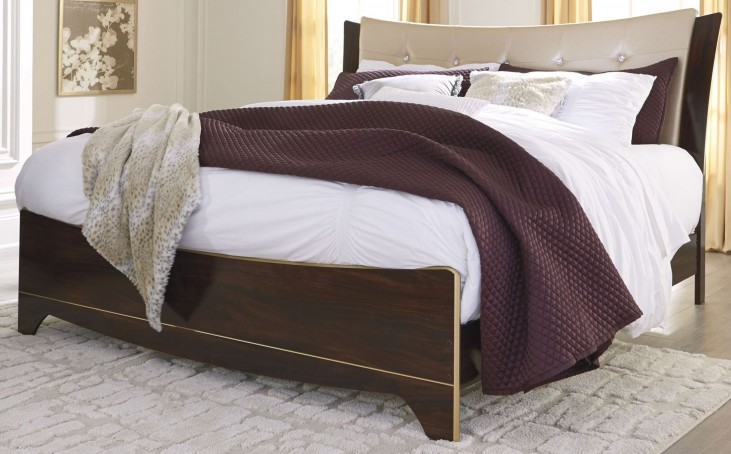 Lenmara Reddish Brown King Upholstered Panel Bed