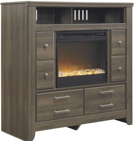 Juararo Media Chest With Glass/Stone Fireplace Insert