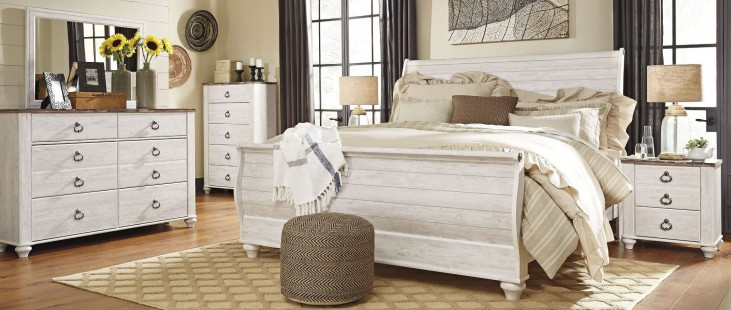 Willowton Whitewash Sleigh Bedroom Set