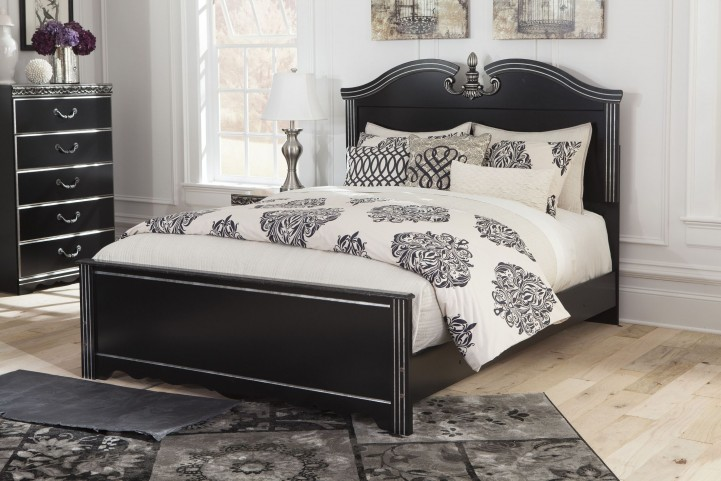 Navoni Black Queen Panel Bed