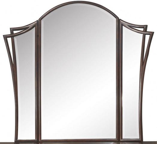 Seventh Avenue Cream and Sable Wood Tri-fold Mirror