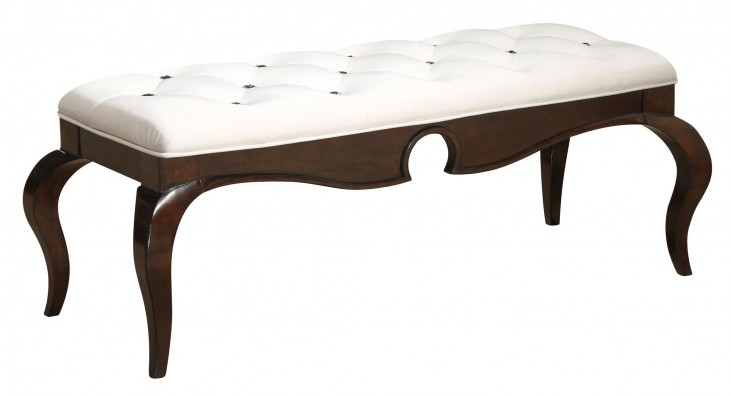 Seventh Avenue Cream and Sable Wood Upholstered Bed Bench