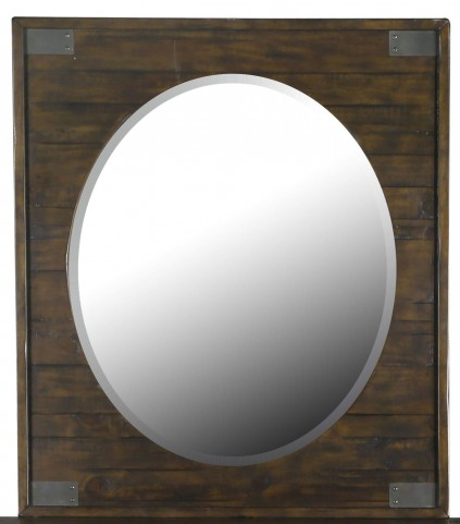 Pine Hill Rustic Pine Wood Portrait Oval Mirror