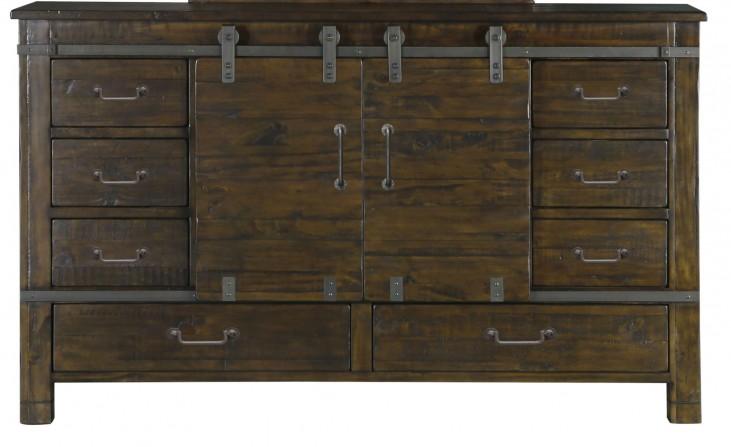 Pine Hill Rustic Pine Wood Sliding Door Dresser
