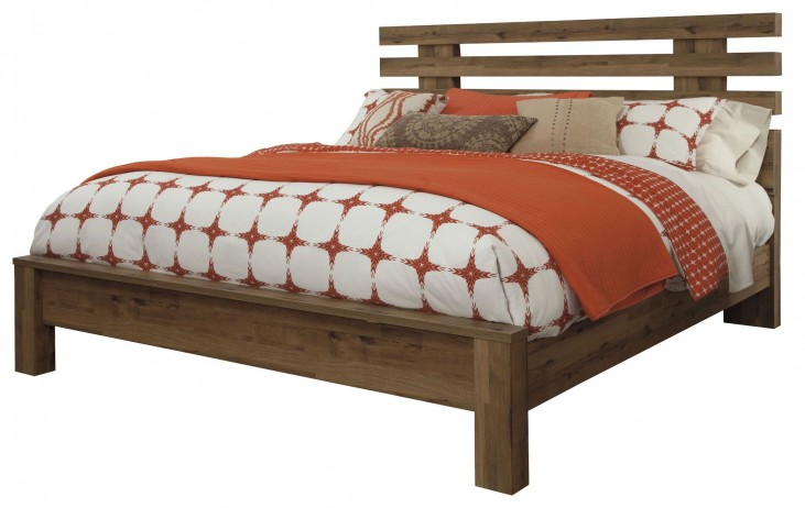 Cinrey Medium Brown King Panel Bed