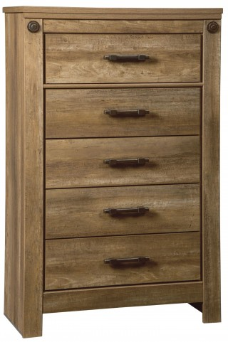 Ladimier Golden Brown 5 Drawer Chest