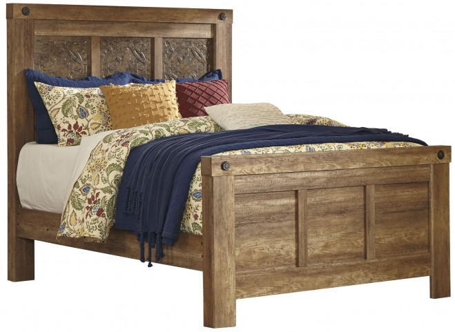 Ladimier Golden Brown Queen Mansion Bed