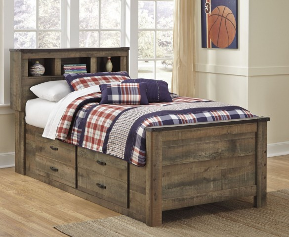 Trinell Brown Full Bookcase Storage Bed