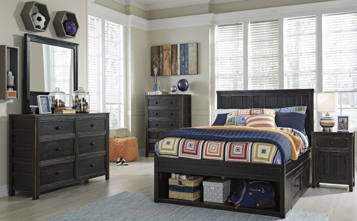 Jaysom Black Youth Panel Storage Bedroom Set