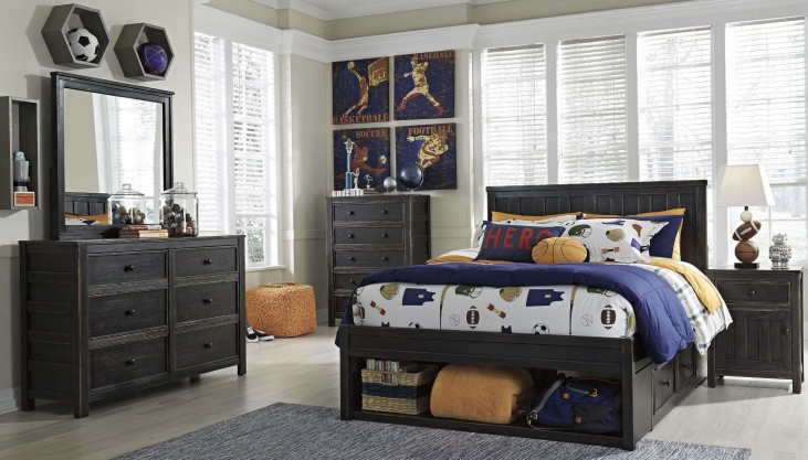 Jaysom Black Panel Storage Bedroom Set
