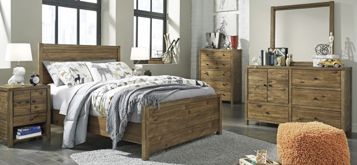 Fennison Light Brown Youth Panel Bedroom Set