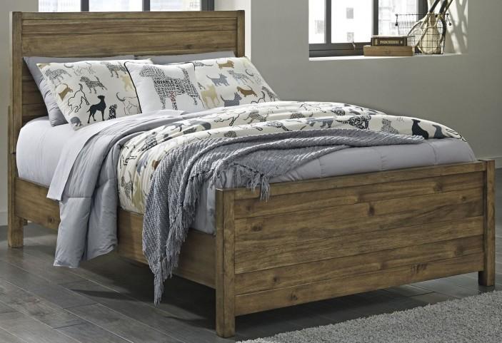 Fennison Light Brown Full Panel Bed