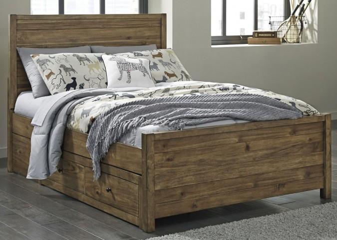 Fennison Light Brown Twin Panel Storage Bed