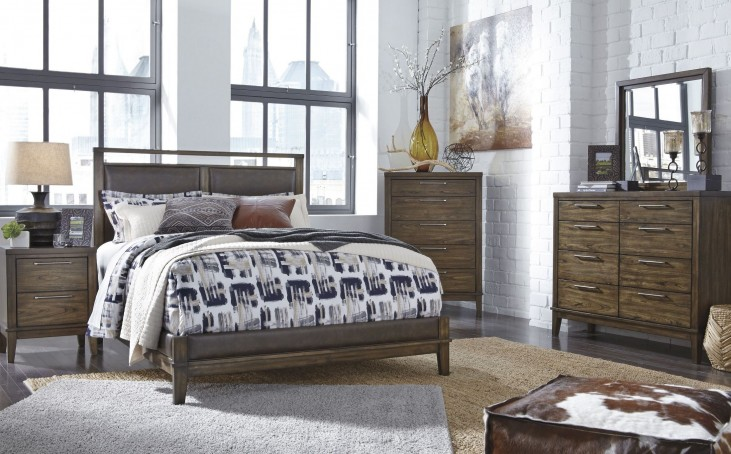 Zilmar Brown Upholstered Panel Bedroom Set