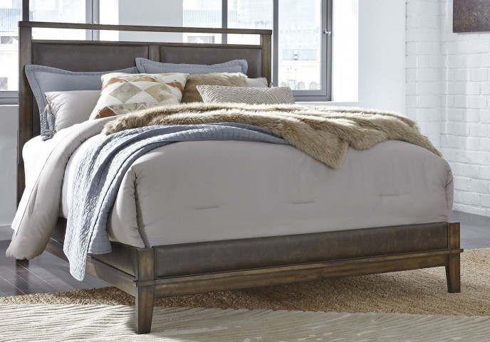 Zilmar Brown Queen Upholstered Panel Bed