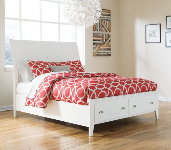 Langlor White Queen Sleigh Storage Bed