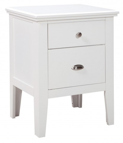 Langlor White Two Drawer Nightstand