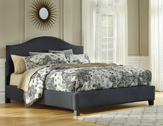 King Arched Upholstered Platform Bed