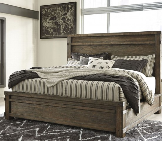 Leystone Dark Brown King Panel Bed