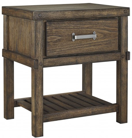 Leystone Dark Brown 1 Drawer Night Stand