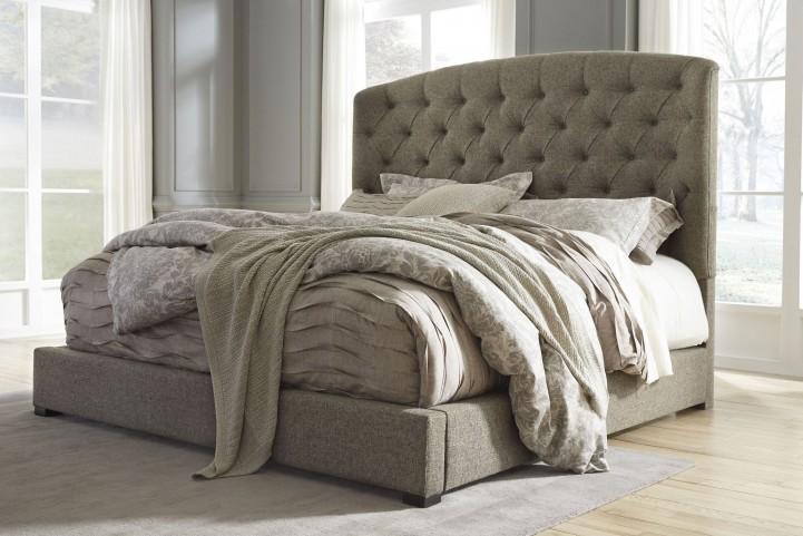 Gerlane Graphite King Upholstered Panel Bed