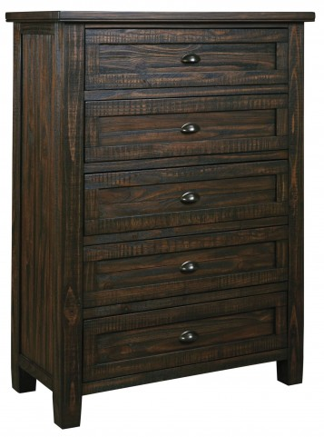 Trudell Dark Brown 5 Drawer Chest