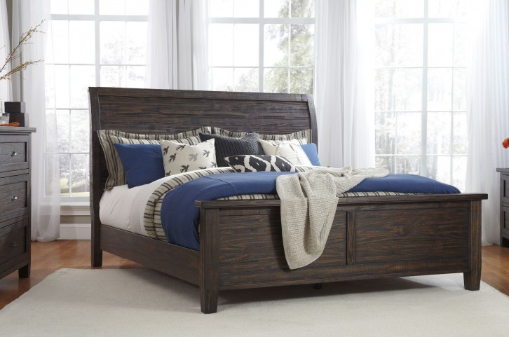 Trudell Dark Brown Cal. King Panel Bed