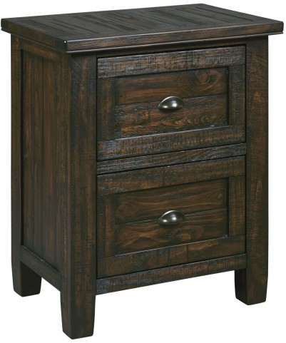 Trudell Dark Brown 2 Drawer Night Stand