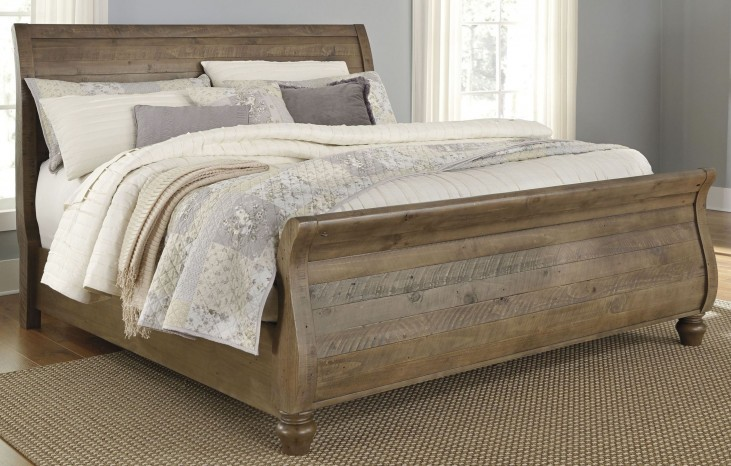 Trishley Light Brown Cal. King Sleigh Bed