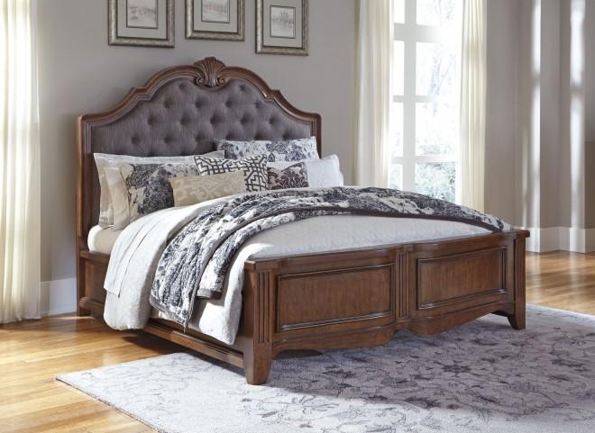Balinder Medium Brown King Panel Bed