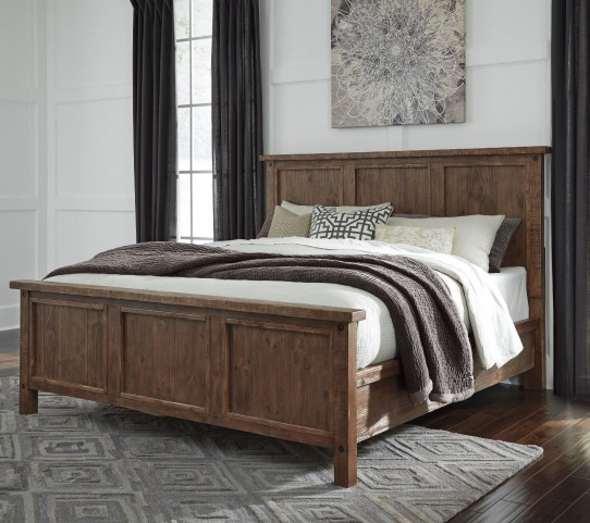 Tamilo Grayish Brown King Panel Bed