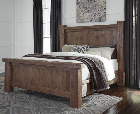 Tamilo Grayish Brown King Poster Bed