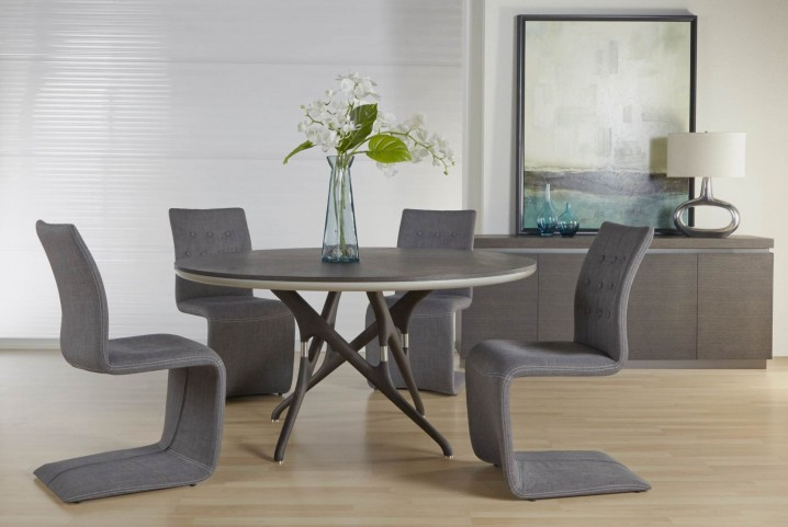 Xena Banyan Matte Light Grey Round Pedestal Dining Room Set