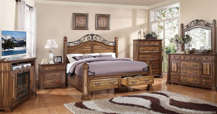 Barclay Rustic Acacia Poster Storage Bedroom Set