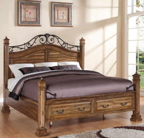 Barclay Rustic Acacia Queen Poster Storage Bed