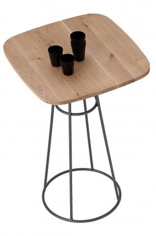 Barrique Wild Oak Top Bar Table with Anthracite Frame