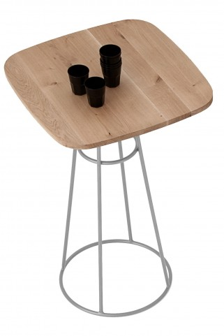 Barrique Wild Oak Top Bar Table with Satinated Aluminum Base