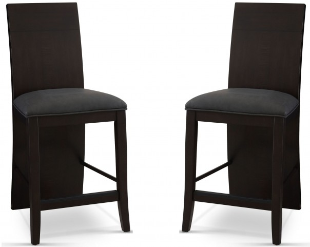 Novara Charcoal Prolo Counter Height Chair Set of 2