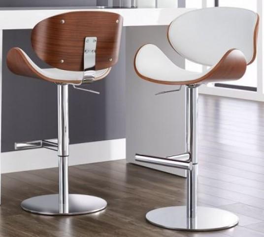 Bowen White Adjustable Barstool