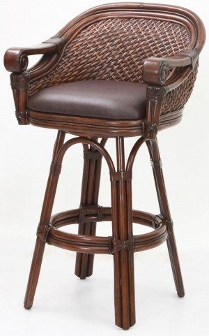 "Decorative Arm 30"" Rattan Frame Stool"