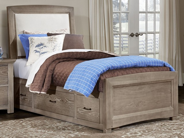 Transitions Driftwood Oak Twin Two Side Storage Upholstered Panel Bed