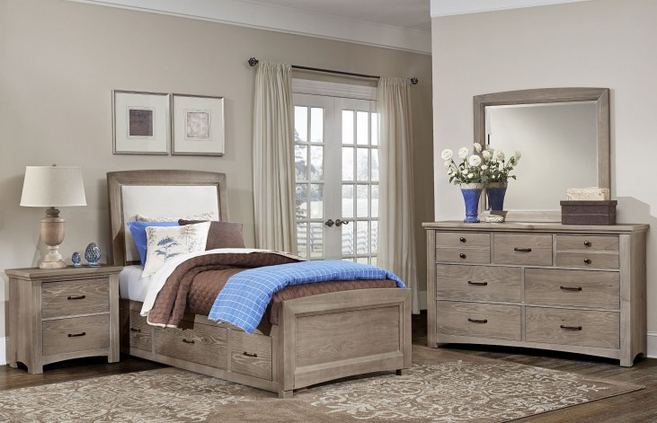 Transitions Driftwood Oak One Side Storage Upholstered Panel Bedroom Set